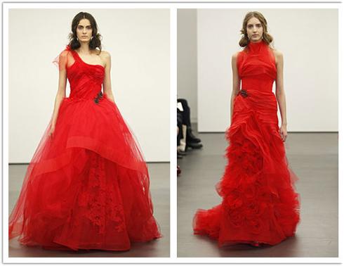 Vera Wang Spring 2013: rochii de mireasa in nuante de rosu